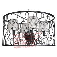 YL-L1025 Loft retro American industrial engineering black iron chandelier with lace lampshade for Bar Internet cafes Manufactures