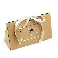 China Fancy Triangle Gift Box With Logo Hot Stamped And Ribbon Attached on sale