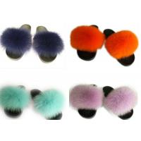 Long Hair Fluffy Fox House Slippers Rubber Sole Soft Comfortable For Women Manufactures