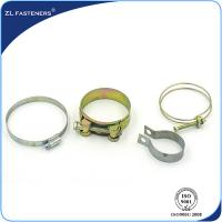 Galvanized Stainless Steel Hose Clamps Bright Zinc / Yellow Zinc Coated Manufactures