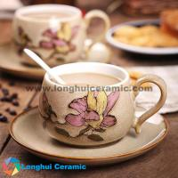 China 300cc flower's fragrance handprinted coffee cup&saucer made in China supplier/manufacturer/factory/exporter on sale