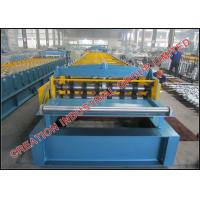 Three High Trapezoid Gutters Profile Floor Deck Panel Cold Roll Forming Machine with Embossing Rollers Manufactures