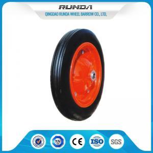 "Heavy Duty Solid Rubber Trolley Wheels Metal Hub Wear Resistance 13""X3"" Size Manufactures"