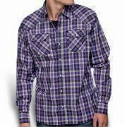 Casual Long-sleeved Shirt for Men, Made of 100% Cotton Yarn Dyed Chesk Poplin Manufactures