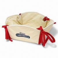 Cotton Bread Basket with Natural White Body and Red Overlock Colors Manufactures