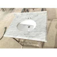 Carrara White Marble Prefab Vanity Tops 22 X 36 With Oval / Rectangle Sink cutout