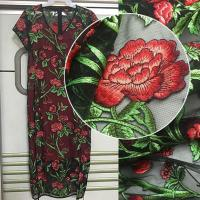 3D Rose Flower Embroidered Mesh Wedding Lace Fabric By The Yard For Women Dress Manufactures