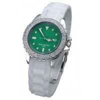 China Womens Diamond Silicone Analog Watch Stainless Steel Back Case on sale