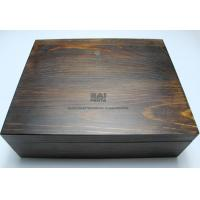 China Customized Handmade Wooden Gift Boxes , Darker Wood Color Personalized Wooden Box With Lock on sale