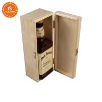 China Customizable luxury wine bottle shipping case/single bottle wooden wine box with buttons on sale