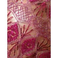 Wine red Sequin Embroidered Fabric Stretch , 47- 53 Inch Manufactures