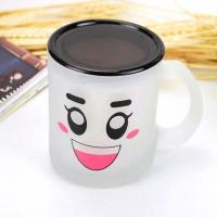 China Frosted Lid Drinking Glass cup Mug , Smily Face Logo Printed on sale