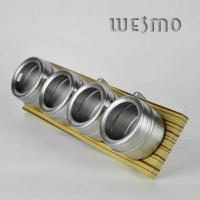 China Bamboo Spice Rack with Hanger with 4pcs Stainless Steel Spice Shakers on sale