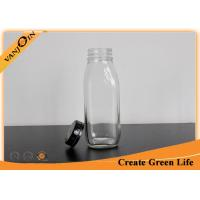 Clear 10oz Decorative Glass French Square Bottles with Tamper Evident Cap for Milk Manufactures