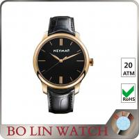 PVD Rose Gold Case & Hands Mens Leather Dress Watch Classic Design Manufactures