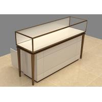 Easy Install Custom Glass Display Cases Beige Wooden Stainless Steel Frame Manufactures
