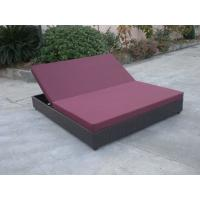 Outdoor Rattan Material Chaise Lounge Daybed In Double,Cushion Cover With Adjustable Back Manufactures