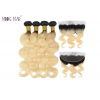 China Body Wave Human Hair Weave 613 Ombre Bundles With Frontal Closure Honey Blonde Bundle 2 Tone on sale
