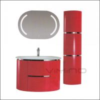 Modern Bathroom Vanity Wall Mounted PVC Bathroom Cabinet With Glass Sink LED Mirror Manufactures