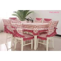 China Vintage plaid cotton tablecloths and chair covers wholesale, pink plaid table linens, on sale