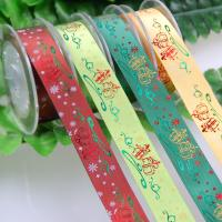 China Polyester Bespoke Foil Printed Ribbon for Christmas Gifts Packaging Deco. on sale
