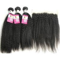 Quality 13x4 Lace Frontal Kinky Straight Peruvian Human Hair Weave 10A Grade for sale