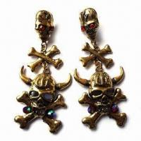 Fashionable Skull Drop Earrings, Various Designs/Colors Available, with Colorful Stones Manufactures