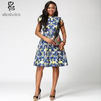 Short sleeve African Print  Dress morden blue midi length V-neck 100% cotton Manufactures