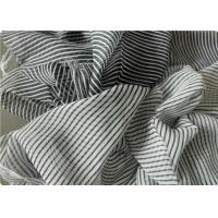 Black And White Striped Polyester Fabric , Garment Curtain Elastic Polyester Fabric Manufactures