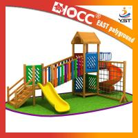 Rainbow Wooden Playground Equipment Galvanized Steel Pipe CE Approved Manufactures