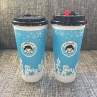 China Optional Color 16oz Disposable Paper Cups With Lids Food Grade Ink For Boba Tea Shops on sale
