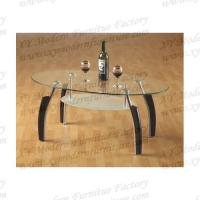 oval glass and wood coffee table xymct-027 Manufactures