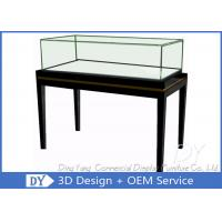 Buy cheap OEM Simple Modern Wood Black Exhibition Plinths With Lights Fully Assembly from wholesalers