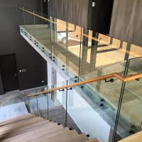 Glass balustrade with stainless steel patch fitting for decking interior/ outdoor Manufactures