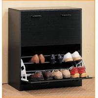Black Modern Shoe Rack Cabinet , Wooden Shoe Cabinet Furniture Manufactures
