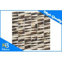 Mixed Color Square Dark Emperador Marble Polished Mosaic Tile for Fireplace Surround Tiles