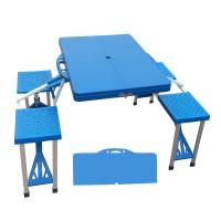 Portable Outdoor Folding Camping Picnic Table with 4 Seats Steel + ABS Manufactures