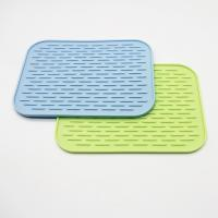Wholesale silicone dish mat heat resistant trivet glass cup collapsible kitchen custom dish drying mat