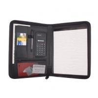 Business Zippered Padfolio w Calculator, Notepad Organizer Leatherette Black Manufactures