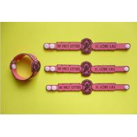 Pink Soft PVC Rubber Bracelet Clasp Adjustable Bracelet ,Custom Company Logo Name, For Adult And Kids Manufactures
