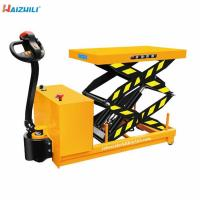 China Battery Operated Portable 500KG Full Electric Scissor Lift Table Trolly on sale