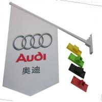 Durable Double Sides Shop Front Flags With Bracket / Pvc Pole Full Color Printing Manufactures