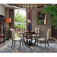 Luxury Dining room Furniture Round Tables in Veneer Inlay Matched decoration by high glossy painting with Leather Chairs Manufactures