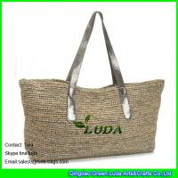 China LUDA light grey raffia beach straw bags with glitter leather handles on sale