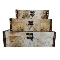 China Eco-Friendly Canvas / Wooden Storage Boxes For Sundries / Cosmetics With Flower Design on sale