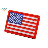 Embossing Military USA flag Soft PVC Rubber Patch With Loop and Hook Backing Manufactures