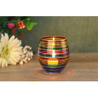 Wedding Decorative Glass Candle Holder , Colored Glass Votive Candle Holders Manufactures