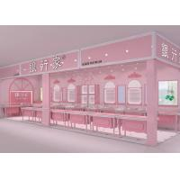 Europeanism Pink Coating Showroom Display Cases Pre - Assembled Structures Manufactures