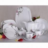 47pcs porcelain dinnerware set with silver design in square shape Manufactures