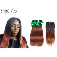 Long 8A Peruvian Hair Bundles With Closure Ombre Dark Roots Tangle Free Manufactures